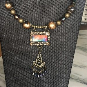 Jewelry - Woman's necklace with dichroic glass centerpiece